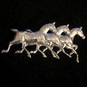 Southwestern Sterling Silver Horse Brooch Pin